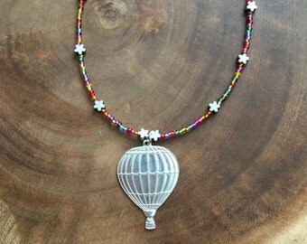 Hot Air Balloon Necklace, Fall Necklace, New Beginnings Necklace, Teen Necklace, Colorful Necklace, Beaded Necklace, 24 Inch Necklace