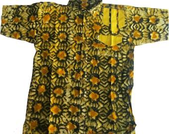 Allswell Mens Batik Shirt, Gold and Black, Free US Shipping