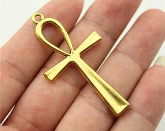 2 Ankh Cross Charms, Antique Gold Tone Charms (1C-72)