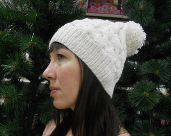 Slouchy Beanie Cabled hat Winter accessory White winter pom pom hat Hand knitt Womens hat Cristmas gift
