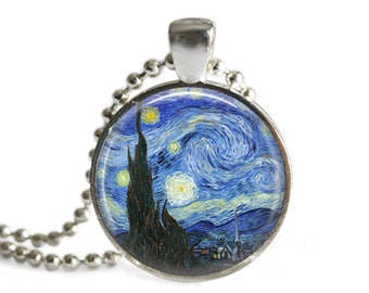 Van Gogh Starry Night Pendant, Glass Art Jewellery, Vincent Van Gogh Necklace, Van Gogh Pendant, Van Gogh Jewelry, Van Gogh Keychain