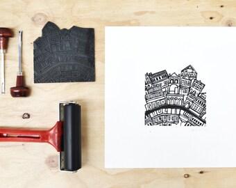 City Lino Print