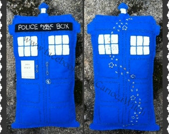 Tardis Dream Pillow in felt - front & back sides displayed