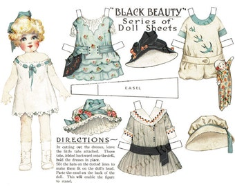 Printable Paper Doll Black Beauty Coal Antique Advertising Paper Doll Instant Digital Download On Sale