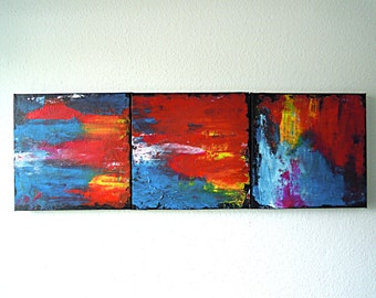 Acrylic painting triptych 3 x 30 x 30 x 3,5 cm abstract yellow red orange black white blue green