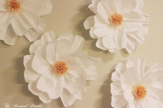 Crepe paper flower decor set white paper by thepaintedpetaler for Crepe paper wall flowers