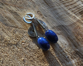 Long Lapis Lazuli Earrings, Oval Indigo Earrings, Silver