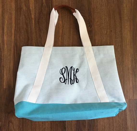 monogram seersucker beach bag custom initial beach bag