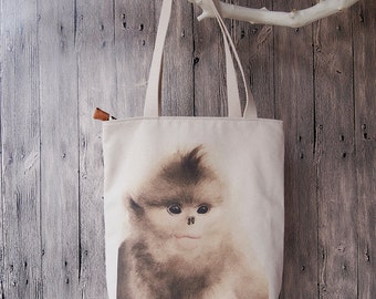 Monkey Heavy Canvas Tote bag, bread bag, shopping bag, bag of course, cotton bag, tote bag, beach bag, bag and luggage bags