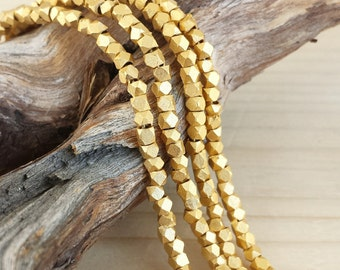 Satin Gold - 2-2.5mm Faceted Metal Beads - Cornerless Cubes - Matte Gold Plated Brass - Full or Half Strand (approx. 100 or 200 pcs)