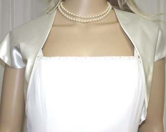 Ivory Satin Bolero Jacket  Perfect for Bridal Prom Formal New !!