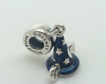 Disney MICKEYS SORCERERS HAT Charm/ New / s925, / Sterling Silver / Threaded / Fully Stamped.