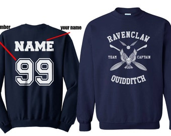 CAPTAIN - Custom back Ravenclaw Quidditch team Captain WHITE print on Navy Crew neck Sweatshirt
