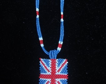 British flag Beaded  necklace. British flag necklace beads. Beaded harness necklace.