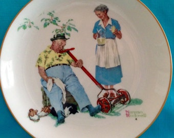 """Gorham Norman Rockwell 1978 Limited Edition Plate """"Cool Aid"""""""