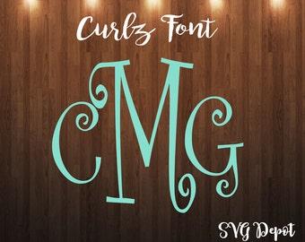 Curly Letters svg file, font svg, cut file, instant download