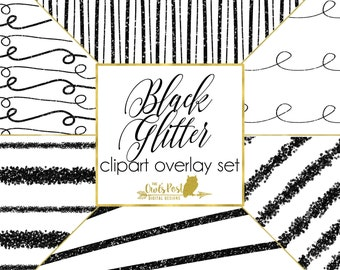 Hand Drawn PHOTO OVERLAYS   Black Glitter Overlays   Set of 6, 10x10 in Resizable PNG Files   Transparent Backgrounds   Photoshop Overlays  