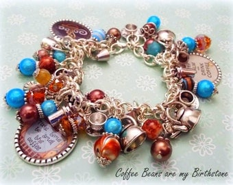 Coffee Lover Gift, Gift for Coffee Lovers, Keep Calm Drink Coffee Jewelry, Gift for Her, Girlfriend Gift, Beaded Bracelets, Charm Bracelet
