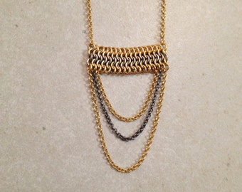 Gold & Oxidized Silver Long Necklace. FREE SHIPPING