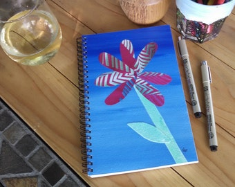 Collaged Spiral Writing Journal; FREE SHIPPING; Hand Painted, Wire Bound, Blank Notebook; Small Sketchbook; Unique Gift