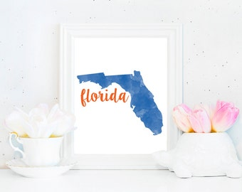 Florida Gators Watercolor State Printable (8x10)