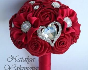 Bridesmaid's bouquet, Wedding Toss bouquet, red, purple, mini bouquet, Unique Wedding Bridal Bouquet, Wedding Accessories, Wedding set