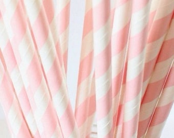 Pink striped paper straws-set of 25- valentines straws,Vintage chic pink striped paper straws, vintage parties, paper drinking straws