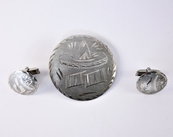 Vintage Mexican Sterling Silver Alpacca Marked Pendant / Brooch And Cufflinks 1950s