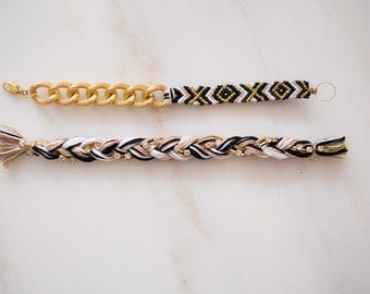 """Woven & Chain Bracelet paired with Braided Rhinestone, """"Avrie Collection"""""""