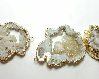 white agate druzy connector, flat freeform, gold plated (approx 20-30mm) druzy connector, freeform connector, electroplated druzy connector