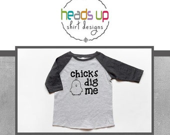 Chicks Dig Me Toddler Boy Raglan Shirt - Easter Raglan Baby Bodysuit Boy - Easter Raglan tshirt Toddler - Chicks Dig Me Tee - Trendy t shirt