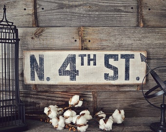 Rustic White Street Sign, Rustic Home Decor, Fixer Upper Sign, Customized Sign, Antique Road Sign, Rustic Road Sign, Fixer Upper Decor