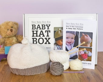 Baby Hat Beginner Knitting Kit / Gift knitting needles / Learn to knit / Easy knitting kit / Baby shower gift / Baby announcement