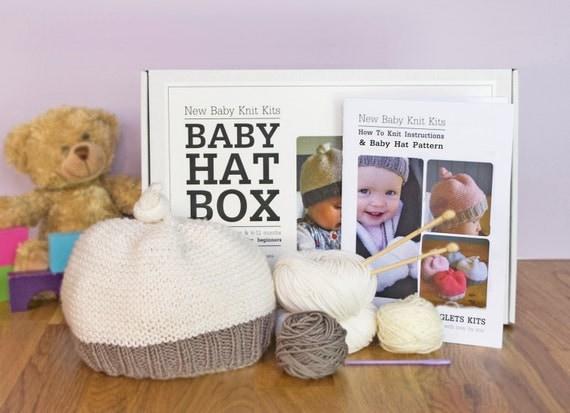 Knitting Kit For Beginners Uk : Baby hat beginner knitting kit gift needles learn