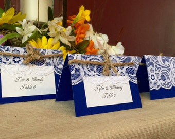 25 Navy and Lace place cards