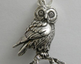 Goose Saw Whet Owl Charm Pendant Dove with Hearts Sterling Silver Gold Vermeil FREE SHIPPING