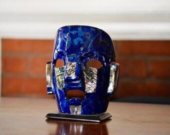 Mayan Ceramic Mask Blue