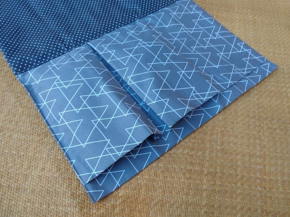 Nappy Wallet integrated with waterproof Change Mat- three or two pockets -Montreux Drill grey with white triangles
