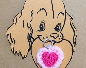 Dog Collar Heart Charm #3, Crochet Dog Charm, Pet Charm Heart, Kitty Collar Charm