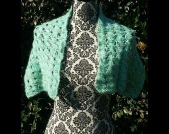 "Hand knit elegant blue, yellow and silver shoulder shawl 33"" X 10"""
