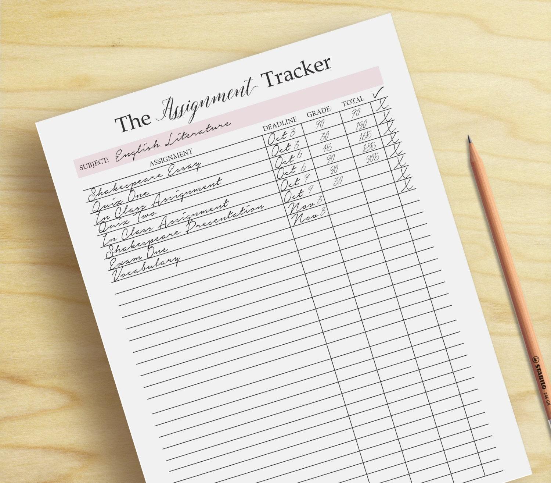 Homework Planner Assignment planner grade tracker by ...