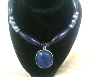 Stunning Lapis Lazuli with Freshwater Pearl