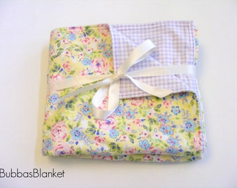 Pastel Floral and Gingham Blanket