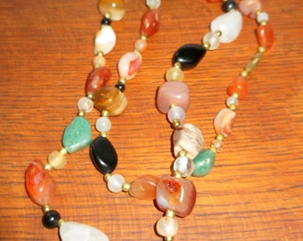 Vintage Multi-Coloured Semi- Precious  Hand Cut and Polished Stone Necklace