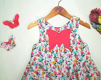 makeforgood SOPHIA Butterfly cut-out dress, twirly circle skirt { size 4 }