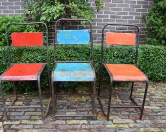 Vintage Industrial Chair (Mutiple, Stackable)  Rusty, Unique, Indoor and Outdoor