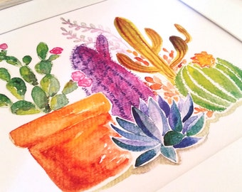 Cactus Watercolor Print, cacti, desert, succulent, Arizona, South America, boho, bohemian, office art, arid, spines, aloe vera, Texas,