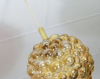 amber glass hanging LAMP bubble glass 1960's 70's pendant light