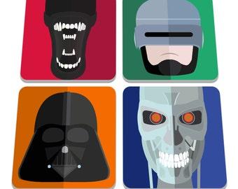 Movie Heads Drinks Coasters - Set Of 4 - Star Wars - Aliens - Terminator - Robocop