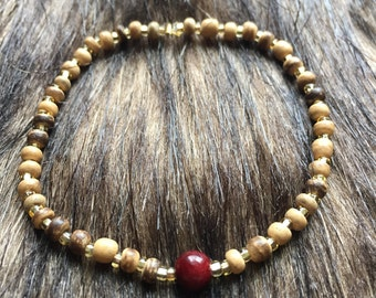Bracelet - Natural Wood Grounding  - Cranberry Accent Bead and Translucent Gold Seed Beads, Stretch, Neutral, Tan
